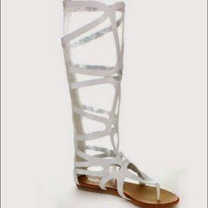 White cage zip up gladiator sandals